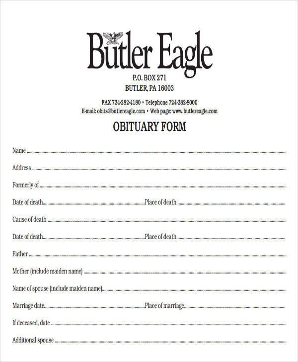 blank obituary form