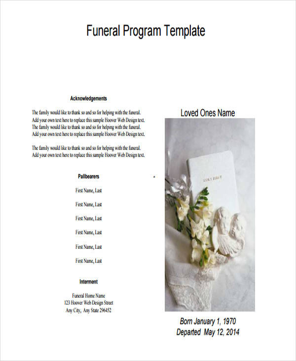 blank obituary program pdf