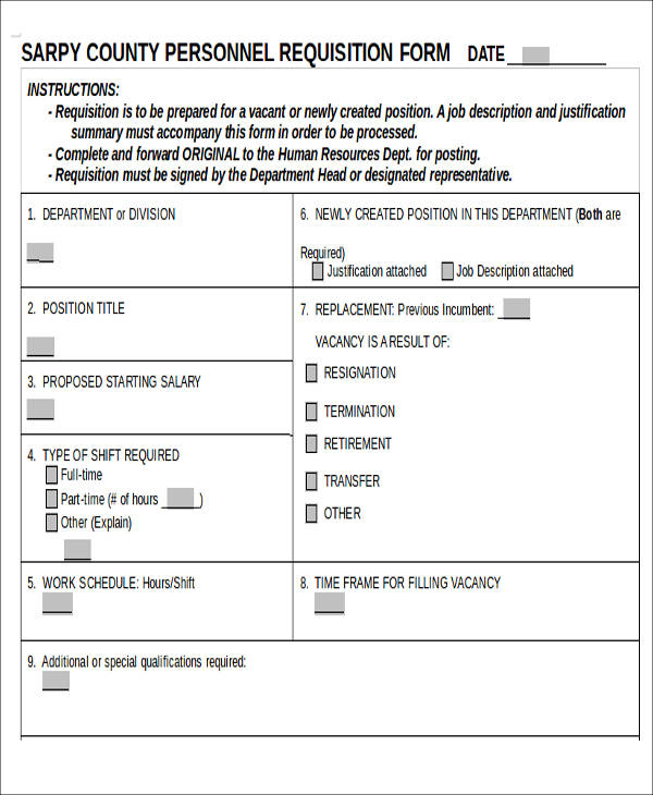 blank personnel requisition form