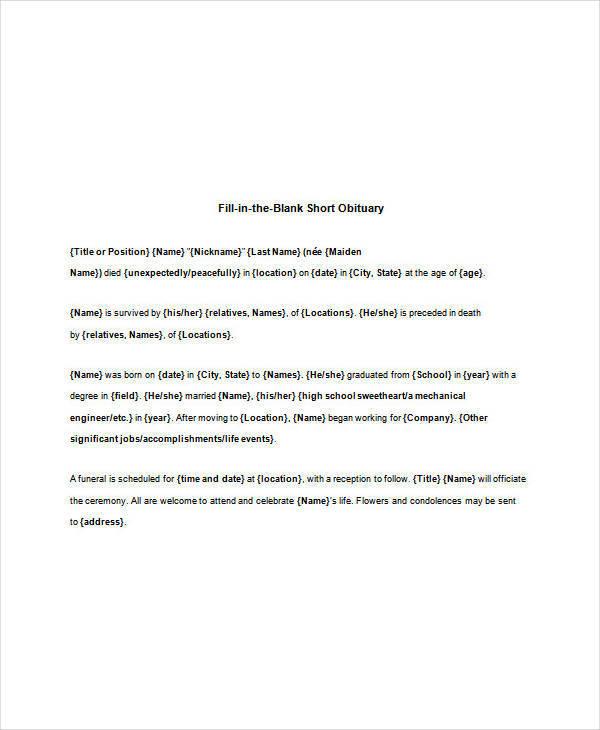 blank short obituary