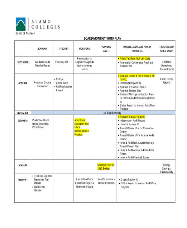 board monthly work plan