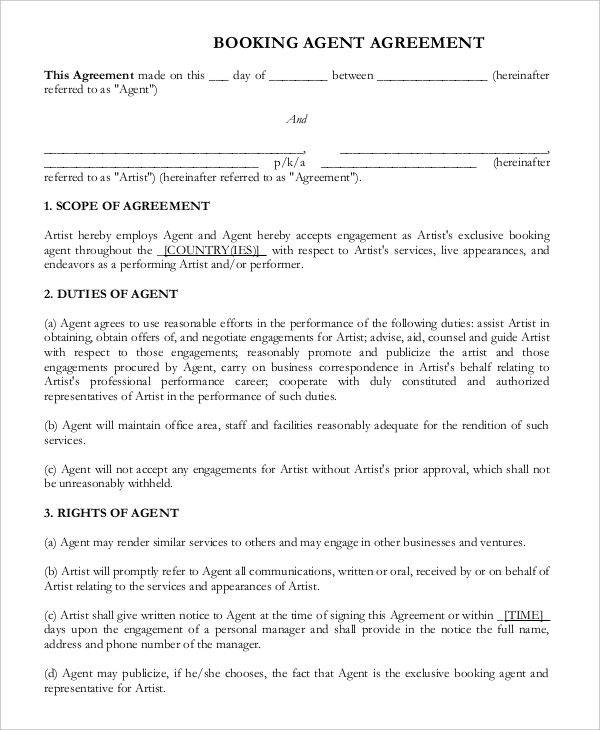 booking agent contract agreement
