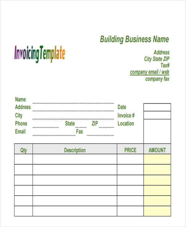 building contractor invoice