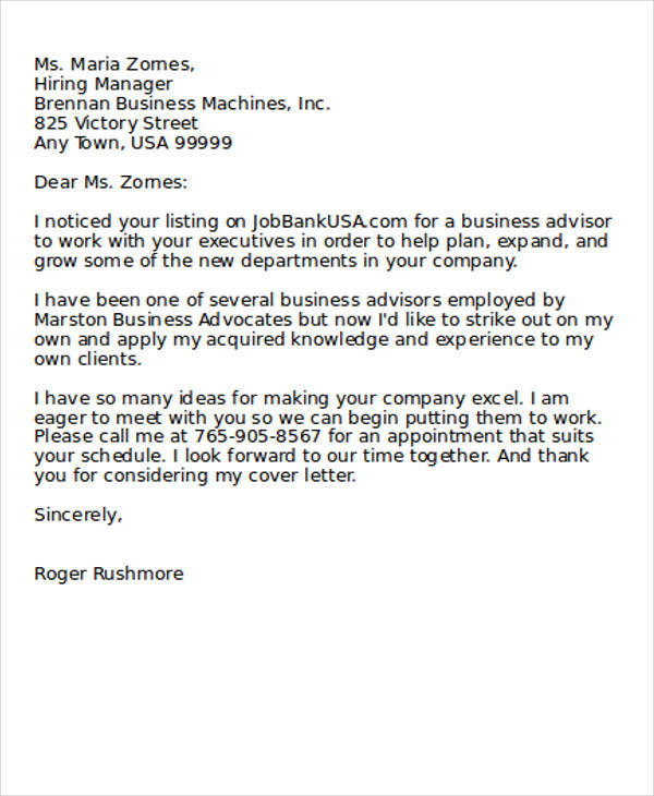 Good Business Advisor Application Letter