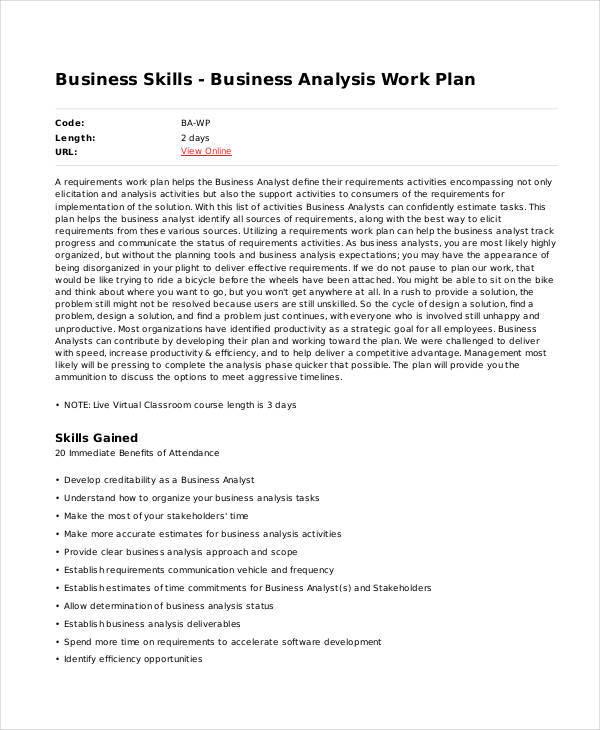 business analysis work