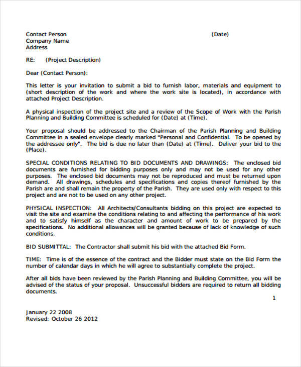 Business Bid Proposal Letter  Bid Proposal Letter