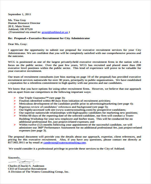 Business Proposal Letter Examples Outstanding Cover Letter