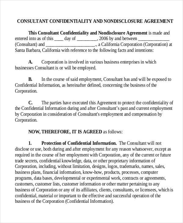 Sample Business Confidentiality Agreement Template  U2026