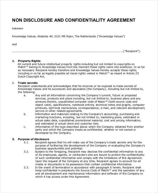 business non disclosure confidentiality agreement
