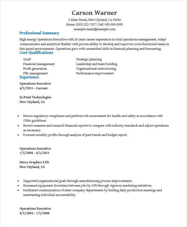 business operation executive resume1