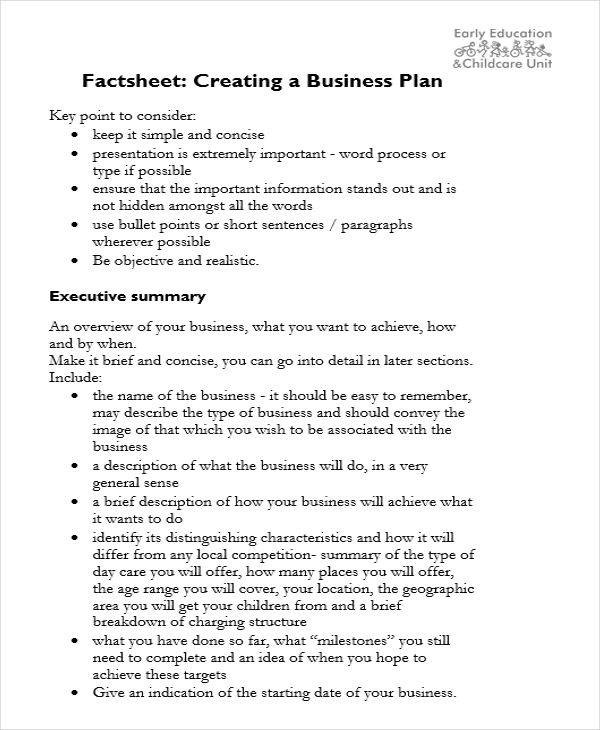 business plan sheet