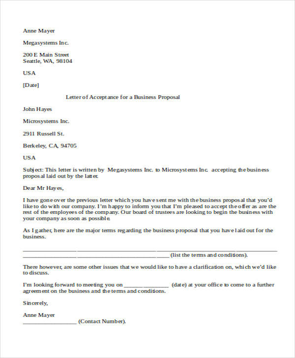 Business Proposal Letter Samples