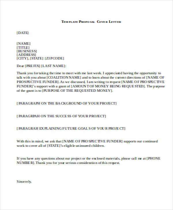 High Quality Business Proposal Cover Letter Doc