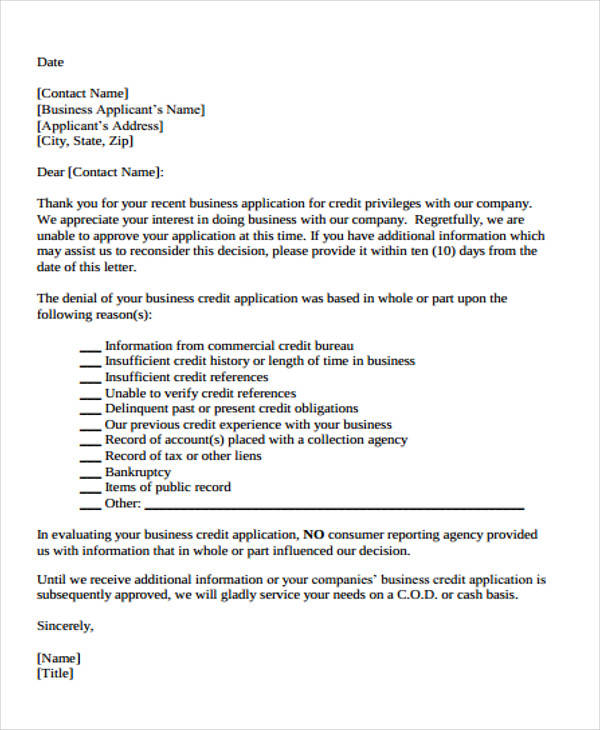 business proposal denial letter