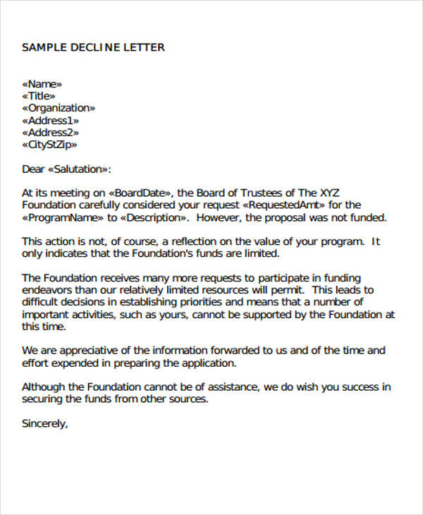 business proposal rejection letter