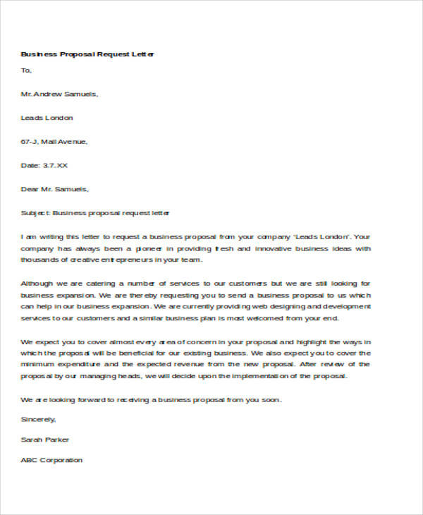 business request proposal letter