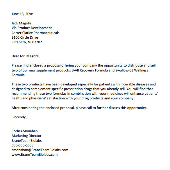32 Sample Business Proposal Letters – Sales Proposal Letter Example
