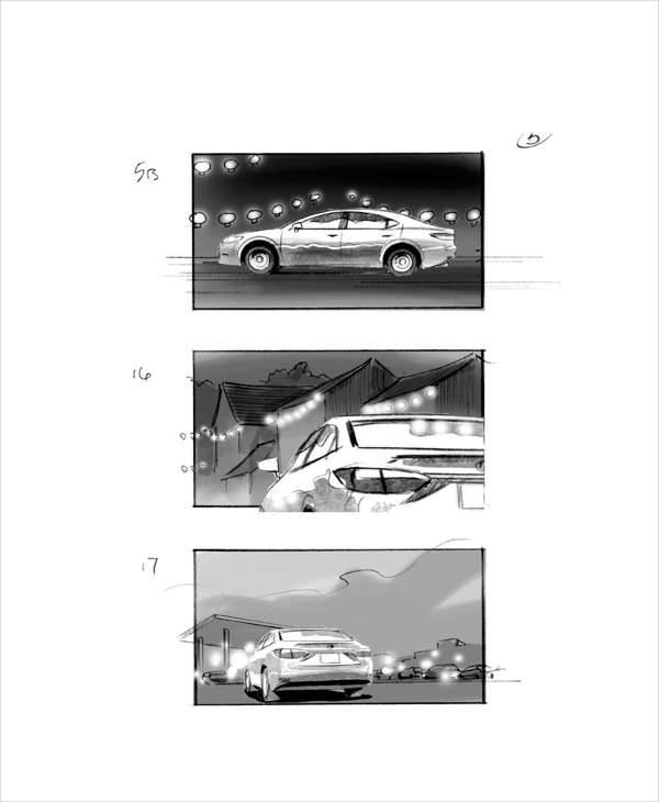 car commercial storyboard