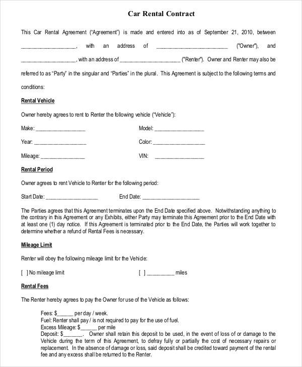 car rental contract agreement