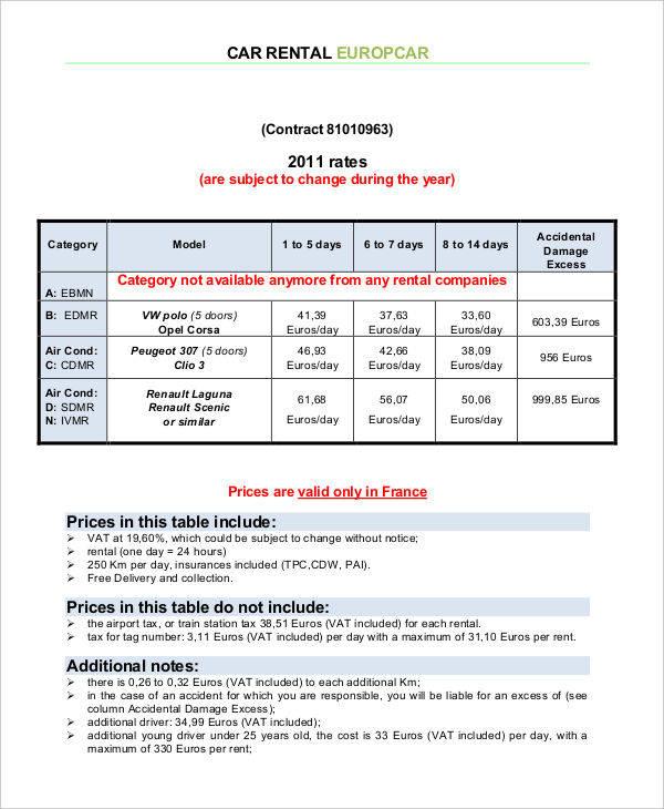 car rental sample