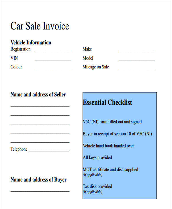 car sales invoice