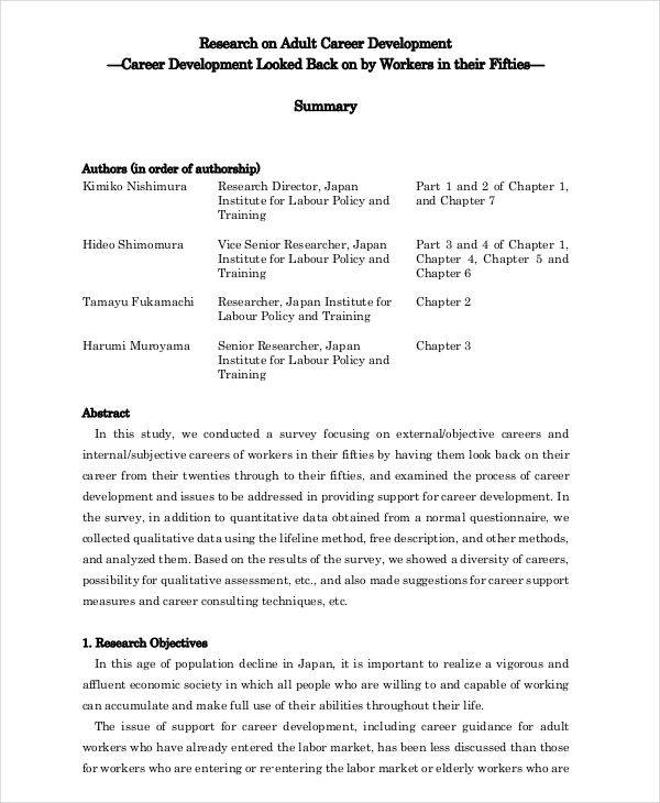 Career research paper example