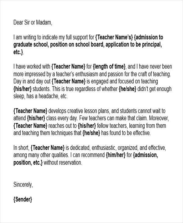 6 Reference Letter For Teachers Free Sample Example