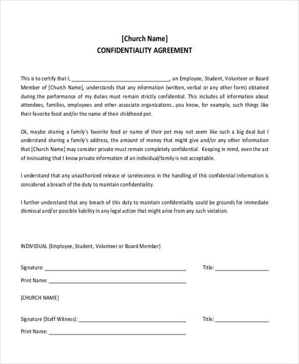 Free Non Disclosure Agreement Form  CityEsporaCo