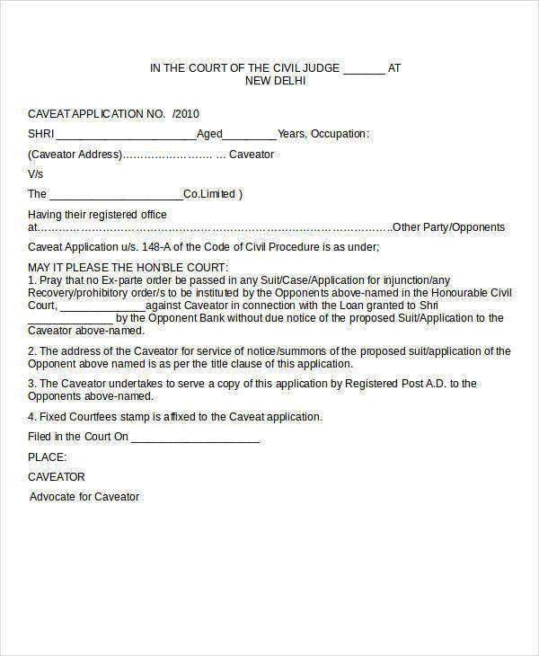 civil court caveat sample