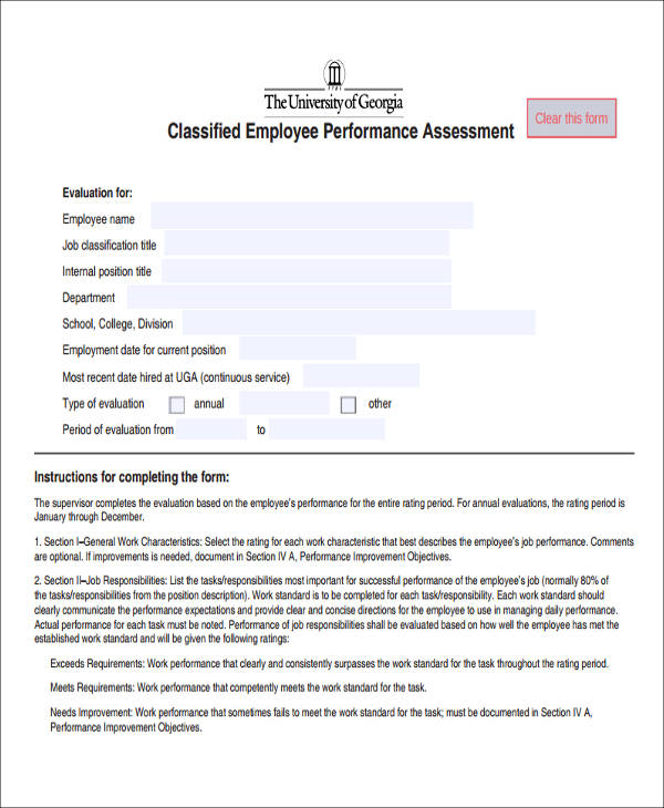 classified employee performance assessment form