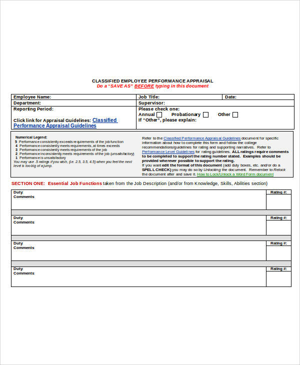 19 Sample Appraisal Forms In Doc
