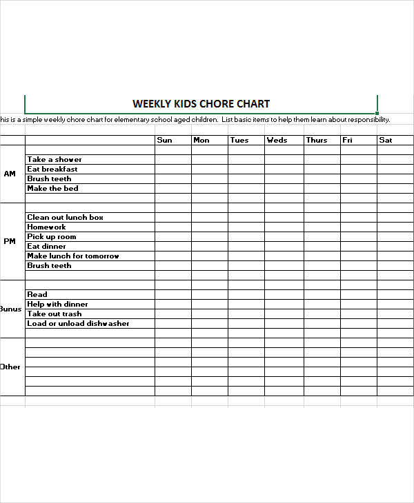 cleaning kids chore chart