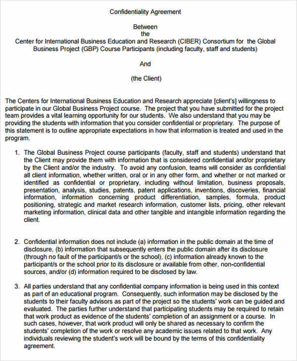 client confidentiality agreement for business