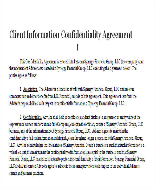 Client Confidentiality Agreements  Free Sample Example Format