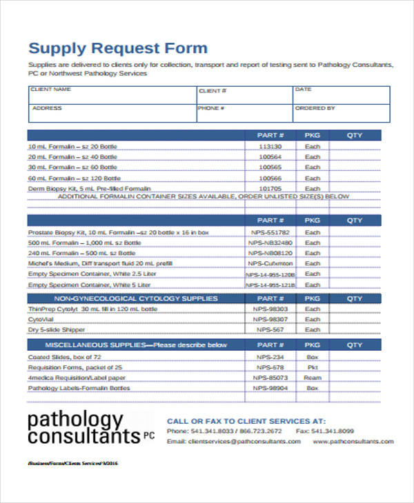 client supply requisition form