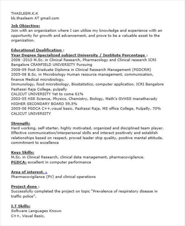 clinical re resume fresher sample research resume research