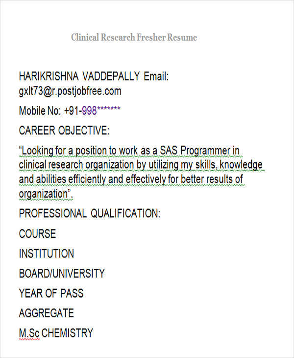 clinical re resume fresher 100 fresher resume sample resume