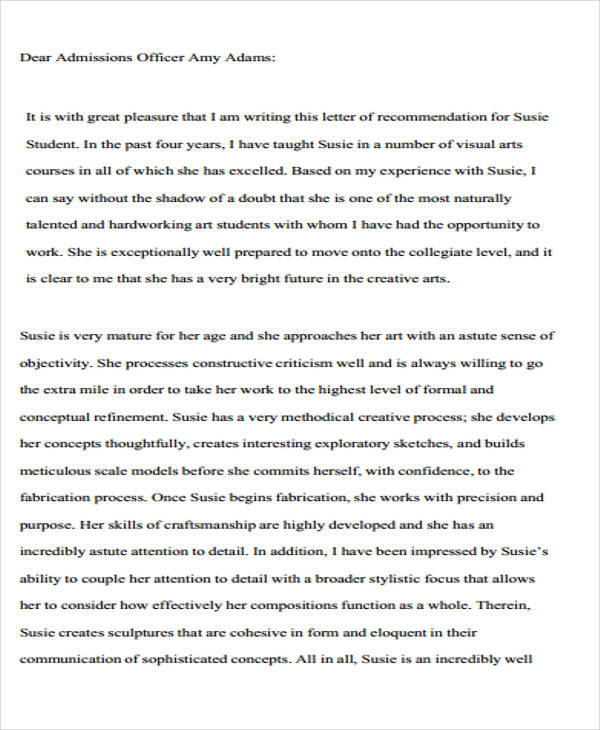 Wonderful College Admission Recommendation Letter