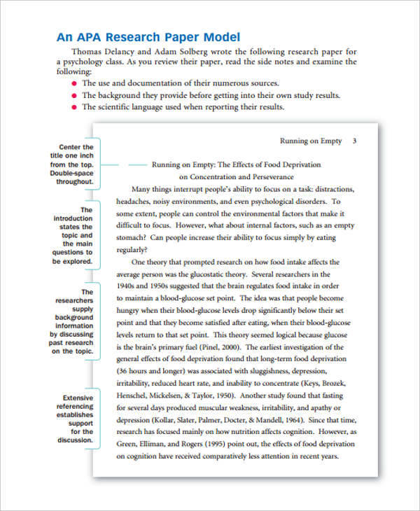 psychology research paper sample