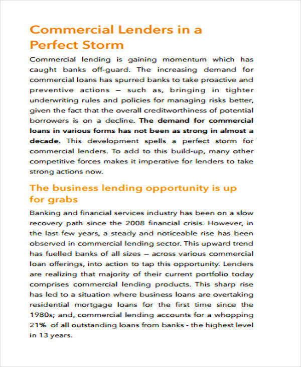 commercial lending white paper