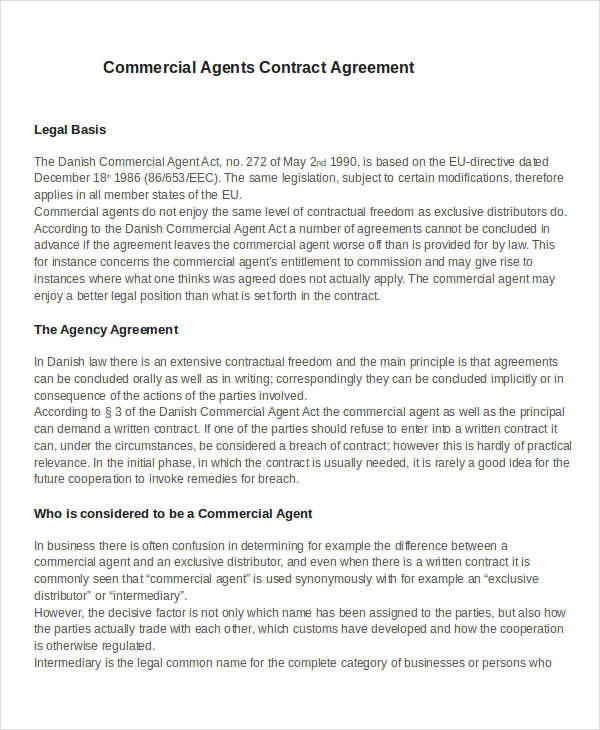 commerical agent contract agreement
