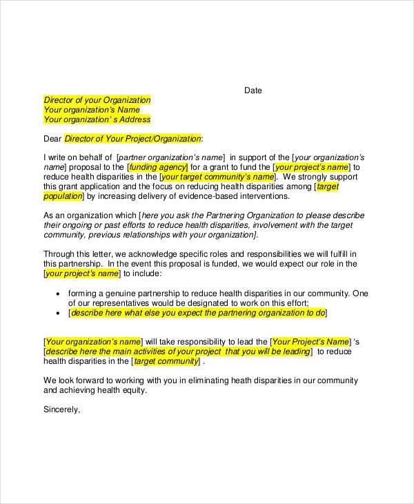 community partner letter