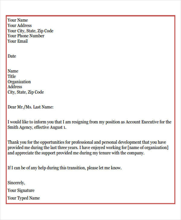 7 Company Resignation Letters