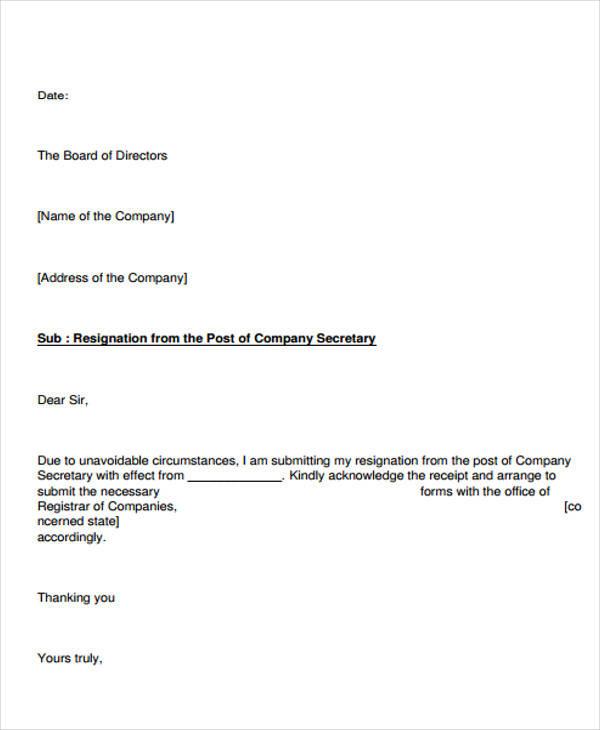 company secretary resignation letter