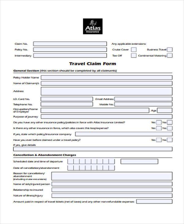 company travel claim form