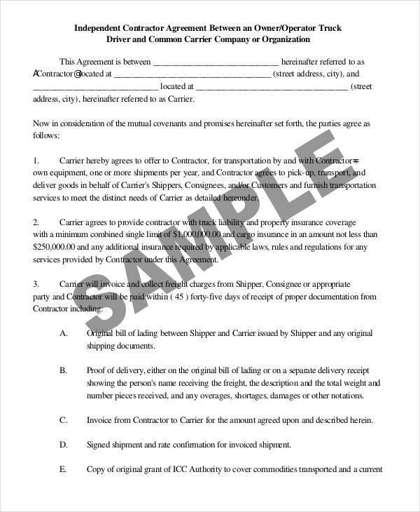 company truck driver contract agreement