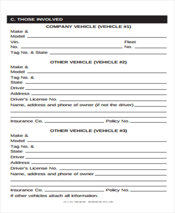 company vehicle incident report