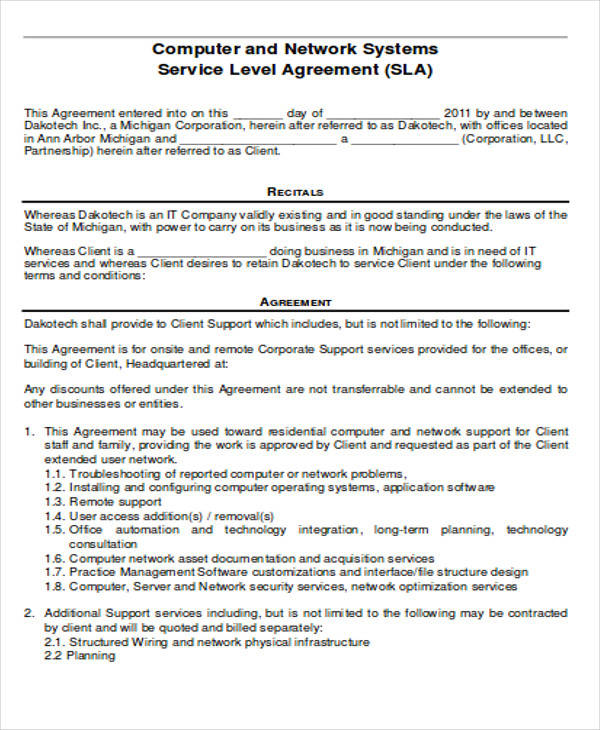 computer service agreement form format