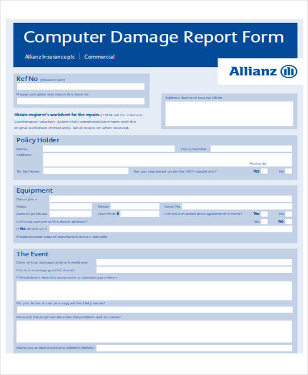 computer service report form format