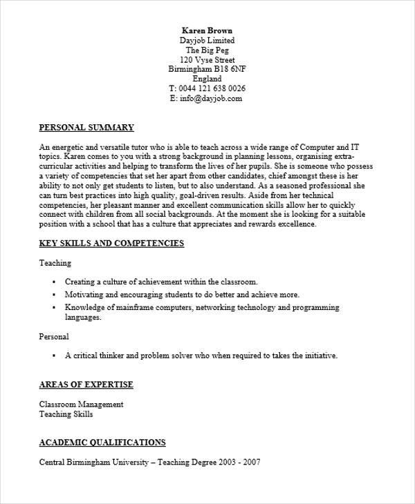 computer science teacher resumes